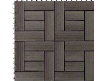 Carreaux de terrasse 22 pcs 30 x 30 cm 2 m² WPC Marron foncé - vidaXL