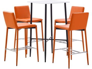 Ensemble de bar 5 pcs Similicuir Orange - vidaXL