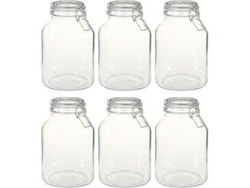 Pots en verre avec serrure 6 pcs 3 L - vidaXL