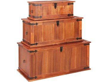 Coffres de rangement 3 pcs Bois d'acacia solide - vidaXL