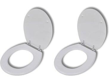 Sièges de toilette avec couvercles 2 pcs MDF Blanc - vidaXL