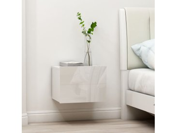 Tables de chevet 2 pcs Blanc brillant 40 x 30 x 30 cm Aggloméré - vidaXL