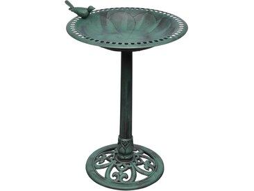 Bain d'oiseau sur pied vert avec oiseau décoratif - vidaXL