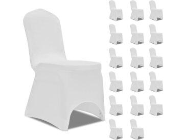 Housses élastiques de chaise Blanc 18 pcs - vidaXL