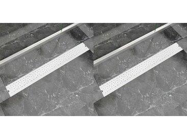 Drain de douche linéaire 2 pcs 930 x 140 mm Acier inoxydable - vidaXL