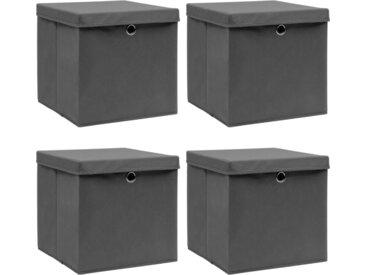 Boîtes de rangement avec couvercles 4 pcs Gris 32x32x32cm Tissu - vidaXL