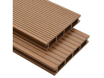 Panneaux de terrasse creux et accessoires WPC 20 m² 4 m Teck - vidaXL