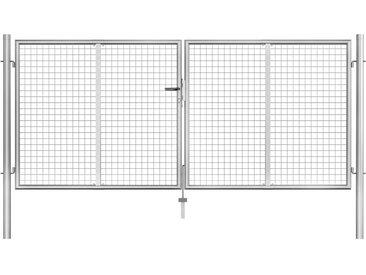 Porte de jardin Acier galvanisé 306x175 cm Argenté - vidaXL