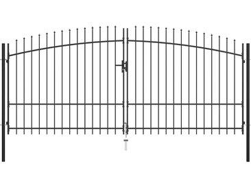 Double portail avec haut sous forme de lance 400 x 225 cm - vidaXL