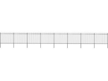 Clôture de jardin avec dessus en lance Acier 13,6 x 1,5 m Noir - vidaXL