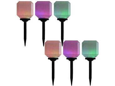 Lampes solaires cubiques à LED d'extérieur 6 pcs 20 cm RVB - vidaXL
