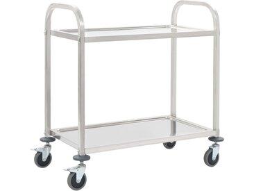 Chariot de cuisine à 2 niveaux 87x45x83,5 cm Acier inoxydable - vidaXL