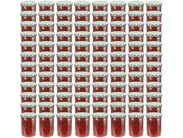 Pots à confiture Couvercle blanc et vert 96 pcs Verre 400 ml - vidaXL