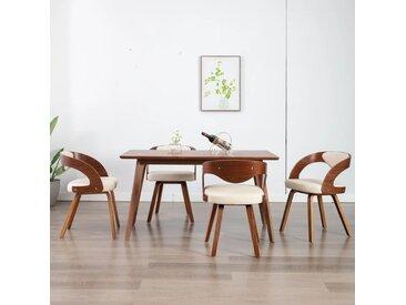 Chaises de salle à manger 4 pcs Crème Bois courbé et similicuir - vidaXL