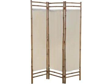 Cloison de séparation pliable 3 panneaux Bambou et toile 120 cm    - vidaXL