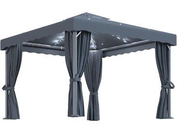 Tonnelle avec rideau et guirlande lumineuse 3x3 m Anthracite - vidaXL