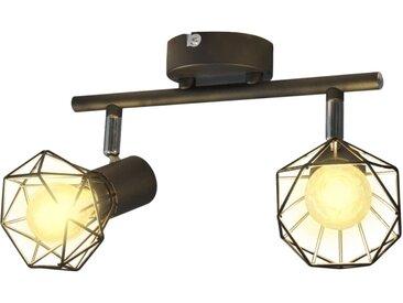 Projecteur Style industriel Noir avec 2 ampoules à filament LED - vidaXL