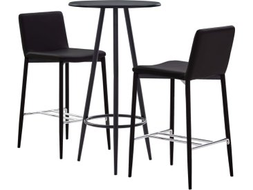 Ensemble de bar 3 pcs Similicuir Marron - vidaXL