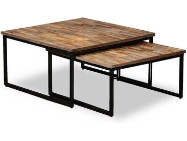 Table basse gigogne 2 pcs Teck massif de récupération - vidaXL