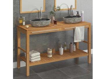 Armoire de toilette Teck solide et lavabos en pierre de rivière  - vidaXL