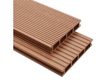 Panneaux de terrasse WPC avec accessoires 30 m² 4 m Marron   - vidaXL