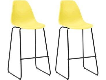 Chaises de bar 2 pcs Jaune Plastique - vidaXL