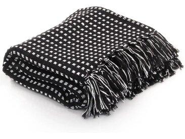 Couverture coton à carrés 220 x 250 cm Noir - vidaXL