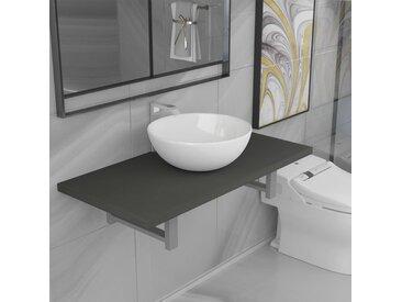 Meuble de salle de bain en deux pièces Céramique Gris - vidaXL