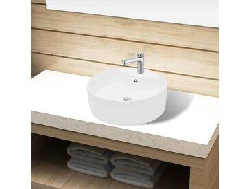 Lavabo à trou de trop-plein/robinet céramique Blanc Rond - vidaXL