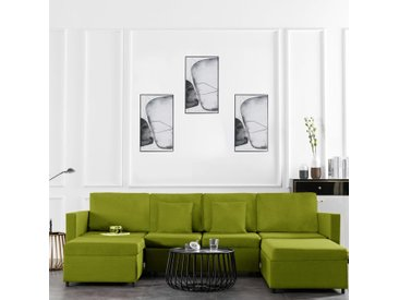 Canapé-lit extensible à 4 places Tissu Vert - vidaXL