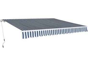 Auvent pliable manuel 400 cm Bleu/blanc - vidaXL
