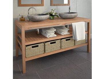 Meuble de salle de bains avec 4 paniers Teck massif 132x45x75cm - vidaXL