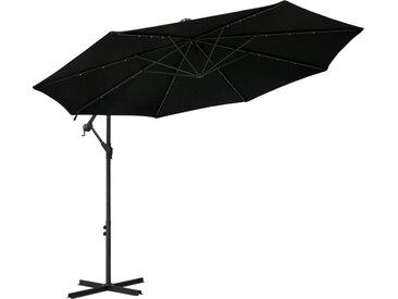 Parasol déporté à LED et mât en acier 300 cm Noir - vidaXL