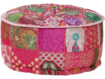 Pouf rond en coton en patchwork fait à la main 40 x 20 cm Rose - vidaXL