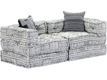 Canapé-lit modulaire à 2 places Gris clair Tissu - vidaXL