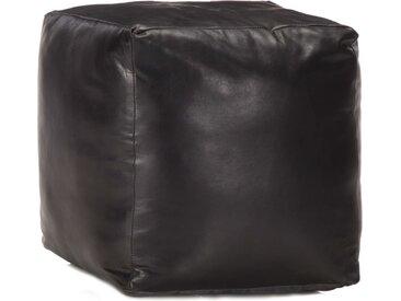 Pouf 40 x 40 x 40 cm Noir Cuir véritable de chèvre - vidaXL