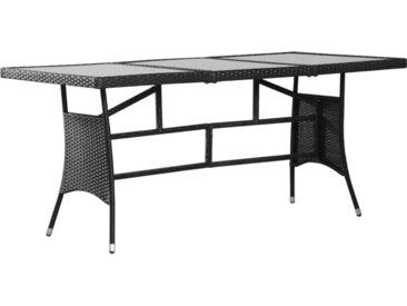 Table de jardin Noir 170x80x74 cm Résine tressée - vidaXL