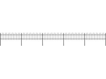 Clôture de jardin avec dessus en cerceau Acier 8,5 x 0,6 m Noir - vidaXL