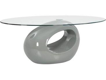 Table basse avec dessus de table en verre ovale Gris brillant - vidaXL
