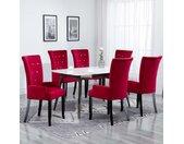 Chaise de salle à manger avec accoudoirs 6 pcs Rouge Velours - vidaXL