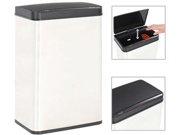 Poubelle à capteur automatique Blanc et noir Inox 60 L - vidaXL