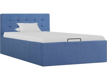 Cadre de lit à stockage hydraulique Bleu Tissu 90x200 cm - vidaXL