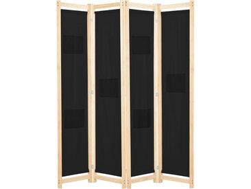 Cloison de séparation 4 panneaux Noir 160x170x4 cm Tissu - vidaXL