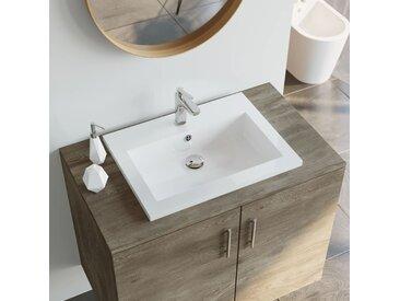 Lavabo en granit 600 x 450 x 120 mm Blanc - vidaXL