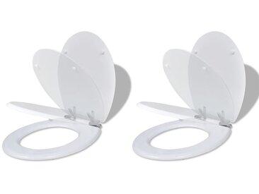Siège de toilette et couvercle à fermeture douce 2pcs MDF Blanc - vidaXL