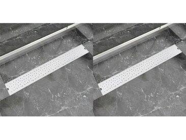 Drain de douche linéaire 2 pcs 830 x 140 mm Acier inoxydable - vidaXL