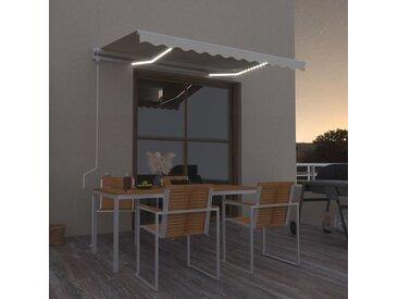 Auvent automatique avec capteur de vent et LED 300x250 cm Crème - vidaXL