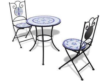 Mobilier de bistro 3 pcs Carreaux céramiques Bleu et blanc  - vidaXL
