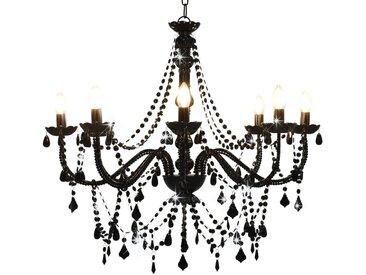 Lustre à perles Noir 8 ampoules E14 - vidaXL
