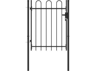 Portillon simple porte avec dessus arqué Acier 1x1,2 m Noir - vidaXL